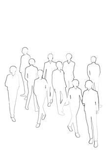 黒色の線画のビジネスマンの群衆のシルエットのイラスト素材 [FYI02661433]