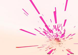 画面下部に向かって進む立体感のあるピンク色のバー(光)のイラスト素材 [FYI02661504]