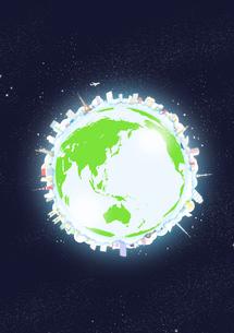 宇宙に浮かぶ地球に見立てた円の上に周りに並べた建物と緑のイラスト素材 [FYI02661508]