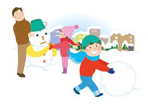 家族と雪遊び1のイラスト素材 [FYI02661558]