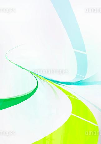 緑と青の流れるラインのイラスト素材 [FYI02661563]
