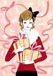 プレゼントとリボンの女性のイラスト素材 [FYI02661572]
