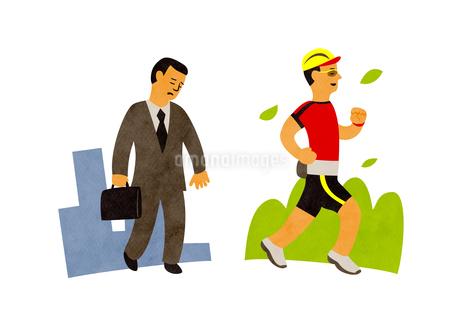疲れているビジネスマンとマラソンする男性のイラスト素材 [FYI02661588]