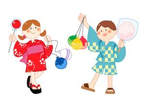 祭りでたくさん買ってもらった子供たちのイラスト素材 [FYI02661606]