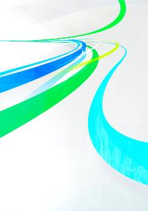 勢い良く奥に流れる緑と青のグラフィカルなラインのイラスト素材 [FYI02661618]