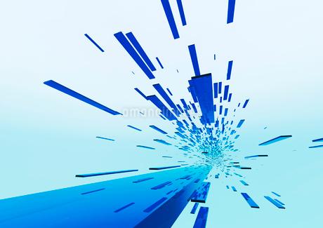 画面奥に流れる立体感のある青色のバー(光)のイラスト素材 [FYI02661669]