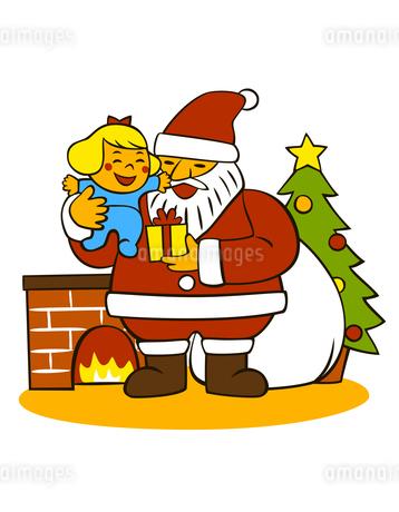 子供を抱いているサンタクロースのイラスト素材 [FYI02661827]