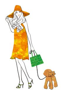 犬の散歩する女性のイラスト素材 [FYI02661839]