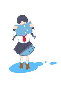 本を読んで涙を流す女の子のイラスト素材 [FYI02661947]