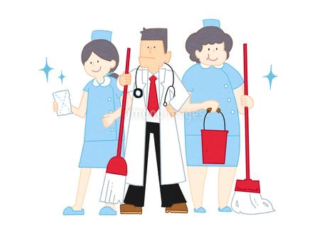 掃除をする病院の先生と看護師のイラスト素材 [FYI02662028]
