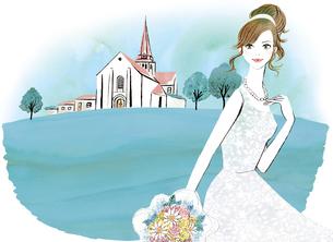 教会と花嫁のイラスト素材 [FYI02662074]