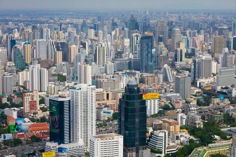 バイヨーク・タワーから見たバンコクの高層ビル街の写真素材 [FYI02662251]
