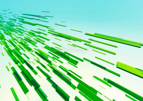 横から見た立体感のある流れる緑のバー(光)のイラスト素材 [FYI02662497]