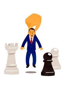 大きな手に持ち上げられるビジネスマンとチェスの駒のイラスト素材 [FYI02662513]