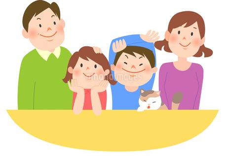 4人家族の団らんと猫のイラスト素材 [FYI02662546]
