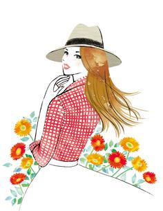 花と帽子をかぶって振り向いた女性のイラスト素材 [FYI02662588]