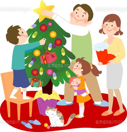 赤いカーペットの上でクリスマスツリーの準備をする4人家族のイラスト素材 [FYI02662594]