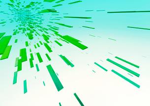 画面上部に向かって進む立体感のある緑色のバー(光)のイラスト素材 [FYI02662786]
