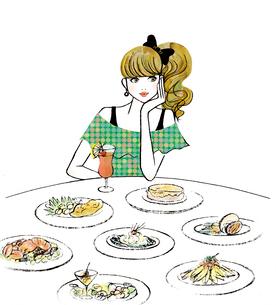 食事を楽しむ女性のイラスト素材 [FYI02662890]
