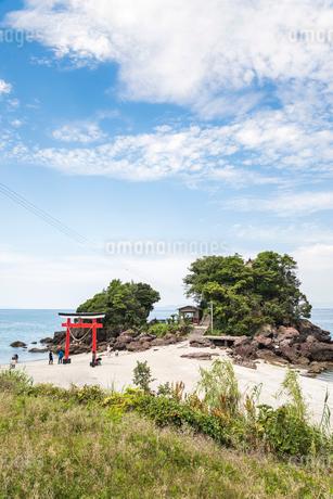 錦江湾に突き出た岩山に建つ荒平天神の写真素材 [FYI02663981]