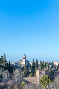 イトスギを見る庭園越しにサンタマリア教会を望むの写真素材 [FYI02663994]