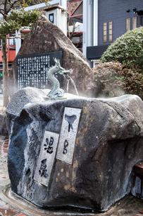 竜の口から温泉水が流れ出る手水鉢を見る下呂駅の写真素材 [FYI02664022]