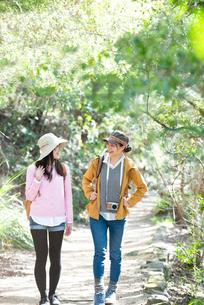 森の中をハイキングしている女性2人の写真素材 [FYI02664040]