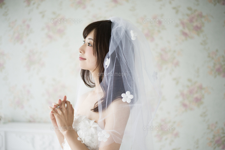 祈っているウェディングドレス姿の女性の写真素材 [FYI02664147]