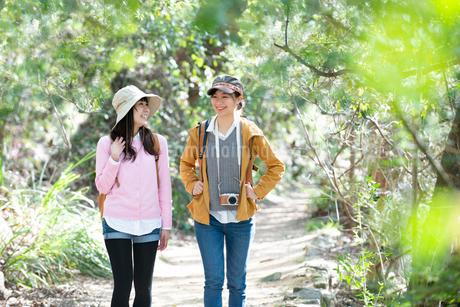 森の中をハイキングしている女性2人の写真素材 [FYI02664174]