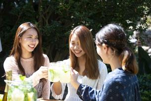 ガーデンパーティで乾杯をしている笑顔の女性3人の写真素材 [FYI02664333]