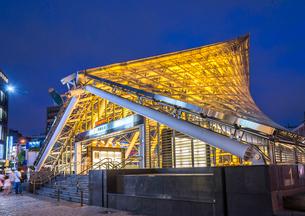 世界で二番目に美しい美麗島駅エントランス夜景の写真素材 [FYI02664342]