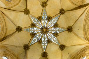 ブルゴス大聖堂元帥の礼拝堂星型透かし模様の天井の写真素材 [FYI02664368]