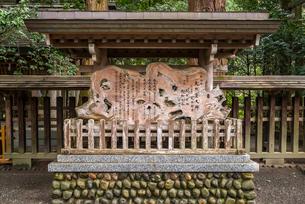 天岩戸神社の祭事案内木の写真素材 [FYI02664516]
