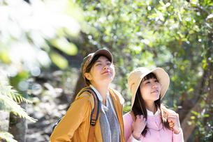 森の中で深呼吸をしている女性2人の写真素材 [FYI02664584]