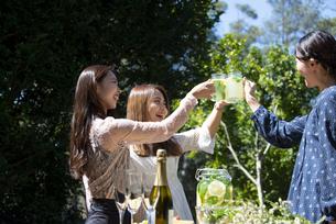 ガーデンパーティで乾杯をしている笑顔の女性3人の写真素材 [FYI02664585]