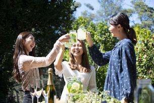 ガーデンパーティで乾杯をしている笑顔の女性3人の写真素材 [FYI02664611]