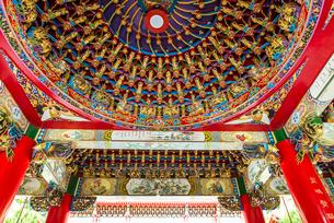 金色の仏像が飾られたドーム状天井の写真素材 [FYI02664624]