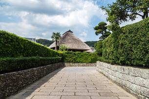 石垣と生け垣を見る知覧武家屋敷群の通りと茅葺き屋根の写真素材 [FYI02664739]