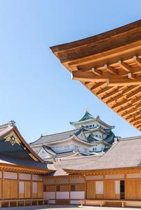 名古屋城本丸御殿越しに大小天守を見るの写真素材 [FYI02664774]
