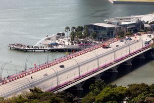 シンガポール エスプラネード橋とマーライオンパークの写真素材 [FYI02664961]