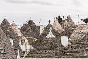密集したトゥルッリのとんがり屋根風景の写真素材 [FYI02665409]