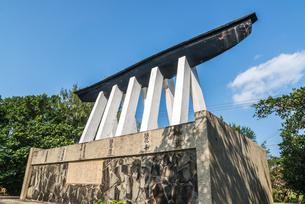 名前が刻まれた久松五勇士顕彰碑裏側の写真素材 [FYI02665488]