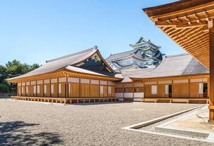 名古屋城本丸御殿越しに大小天守を見るの写真素材 [FYI02665756]