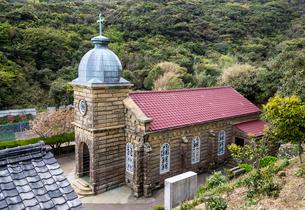 上方から見る頭ヶ島天主堂の写真素材 [FYI02665886]