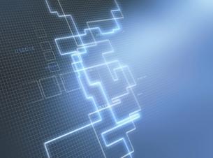 方眼図と光の回路(青) CGのイラスト素材 [FYI02665929]