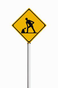 道路標識 道路工事中の写真素材 [FYI02666112]