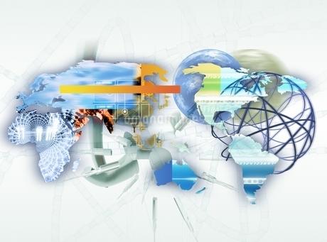 世界地図と球状ネットワーク CGのイラスト素材 [FYI02666177]
