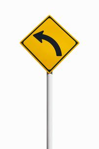 道路標識 左方屈曲ありの写真素材 [FYI02666219]