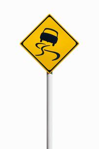 道路標識 すべりやすいの写真素材 [FYI02666415]