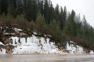 カナダ ヨーホー国立公園の凍りついた滝の写真素材 [FYI02666424]